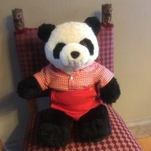 Vintage 1977 Panda Bear w/Western Outfit